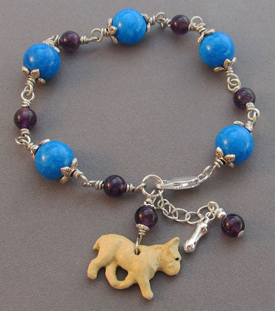 French Bulldog Charm Bracelet Purple Amethyst Blue Howlite