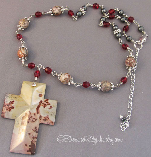 Jasper Gemstone Cross Necklace Garnet Crystals Hematite