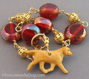 Golden Yellow Lab Bracelet Red Italian Glass Gold