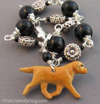 Golden Yellow Labrador Retriever Bracelet Black Silver