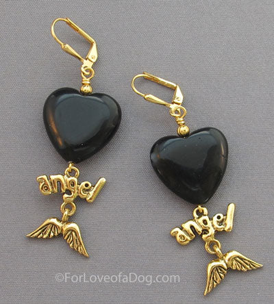 Gold Angel Wings Earrings Heart Memorial Jewelry