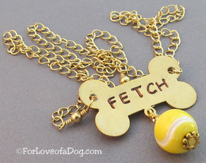 Fetch Tennis Ball Dog Bone Necklace on Gold