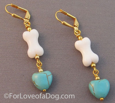 Dog Lover Earrings White Bone Turquoise Hearts Gold