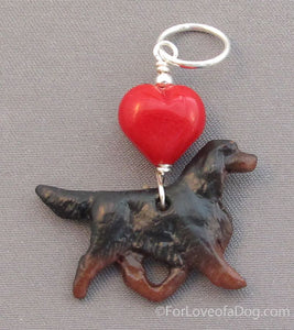 Gordon Setter Dog Pendant Red Lampwork Heart Silver