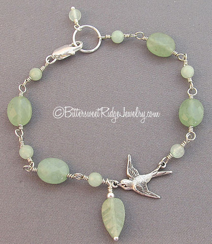 Silver Flying Bird Bracelet Mellow Leaf Green