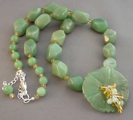 Chunky Flower Necklace Green Gemstone Silver Jewelry