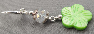 Sweet Green Flower Earrings Crystal Silver Jewelry