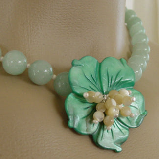Wild Jade Rose Flower Necklace Romantic Green Jewelry