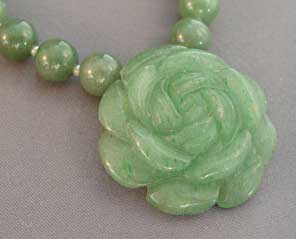 Green Garden Rose Necklace Handcrafted Flower Jewelry
