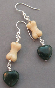Dog Bone Earrings Spruce Green Hearts