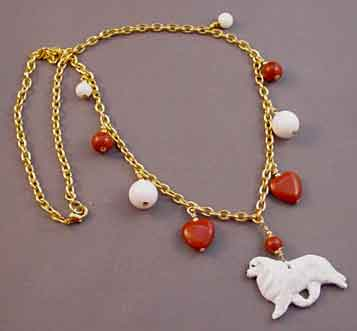 Great Pyrenees Dog Jewelry Red White Gold Necklace