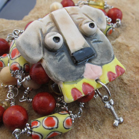 Chunky Dog Necklace and Pin Vintage Beads Mastiff Pug Mutt