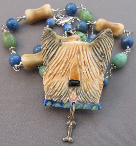 Unique Yorkie Briard Skye Terrier Dog Necklace Pin Art Jewelry
