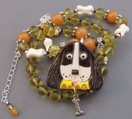 or Setter Dog Bone Necklace Pin Art Jewelry