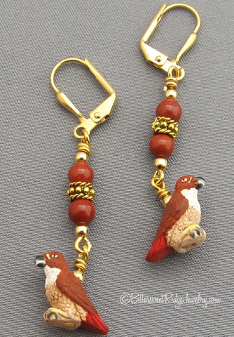 Bird Watcher Earrings Red-tailed Hawks Gold