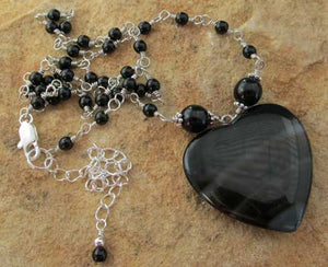 Love Letter Heart Jewelry Black Silver Necklace