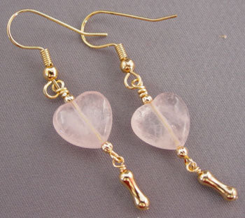 Dog Lover Jewelry Earrings Gold Bone Pink Quartz Hearts