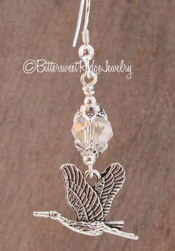 Heron Earrings Clear Crystals Bird Watcher Jewelry