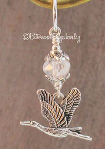Heron Bird Pendant Clear Crystal and Silver