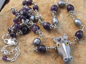 Horse Lover Necklace Amethyst Freshwater Pearl Silver Jewelry