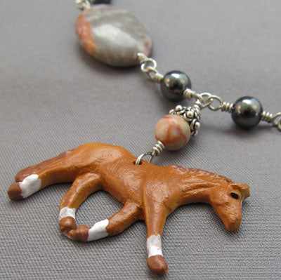 Sorrel Horse Necklace Jewelry Canyon Marble Silver