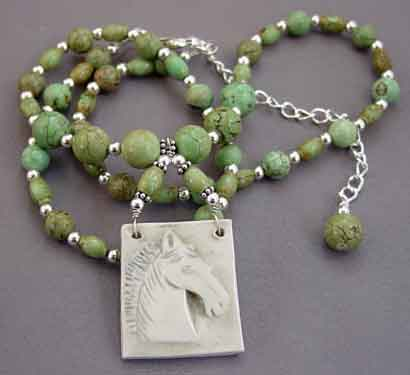 Turquoise Equestrian Necklace Silver Horse Jewelry