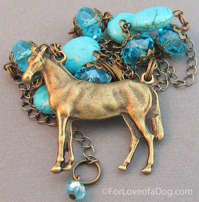 Turquoise Equestrian Necklace Brass Horse Crystals