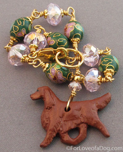 Irish Setter Dog Bracelet Pink Crystals Cloisonne Gold