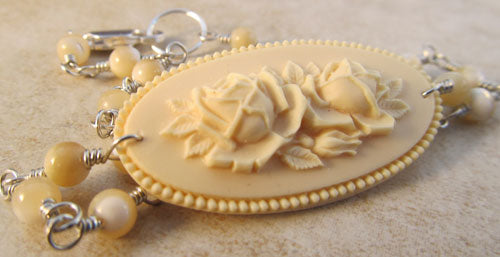Vintage Cameo Ankle Bracelet Ivory Roses and Mother of Pearl