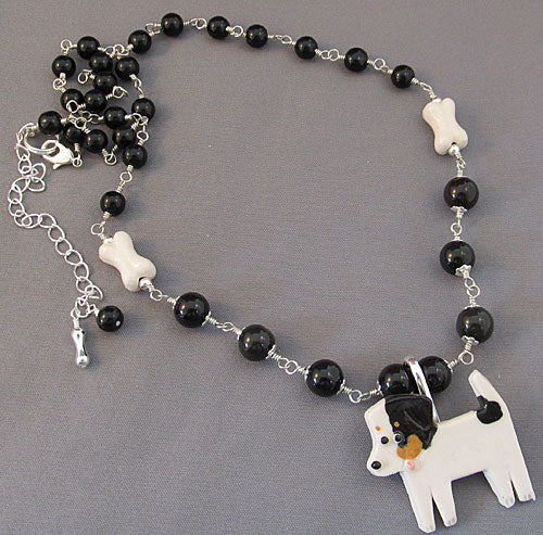 Jack Russell Puppy Dog Pin and Necklace