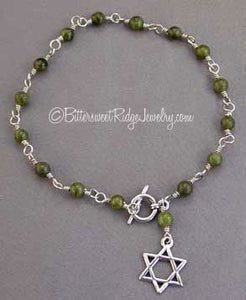 Jade Gemstone Star of David Bracelet Sterling Silver Judaica Jewelry