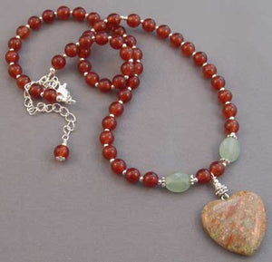 Cured by Herbs Carnelian Necklace Heart Pendant Jewelry