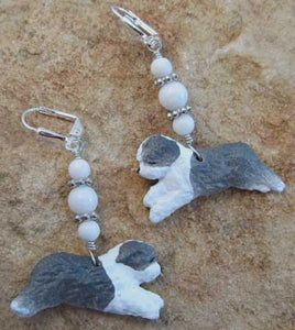 English Sheepdog Bearded Collie Dog Earrings Silver Jewelry