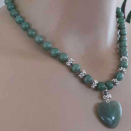 Arms of Love Deep Green Silver Heart Necklace