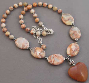 Love One Another Carnelian Heart Necklace