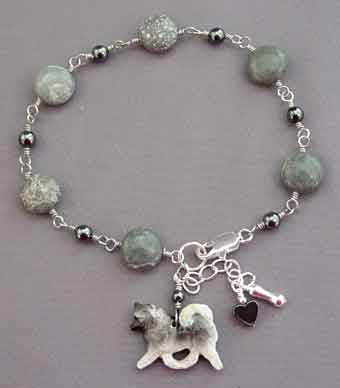 Keeshond Dog Breed Jewelry Silver Jasper Bracelet