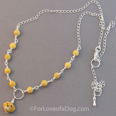 Yellow Lab Dog Lover Necklace Jasper Silver Handmade