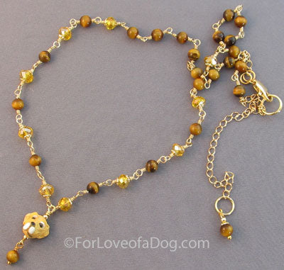 Yellow Labrador Retriever Dog Necklace Tigerseye Crystals