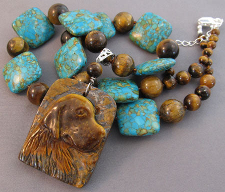 Carved Retriever Dog Pendant Necklace Turquoise Tigerseye