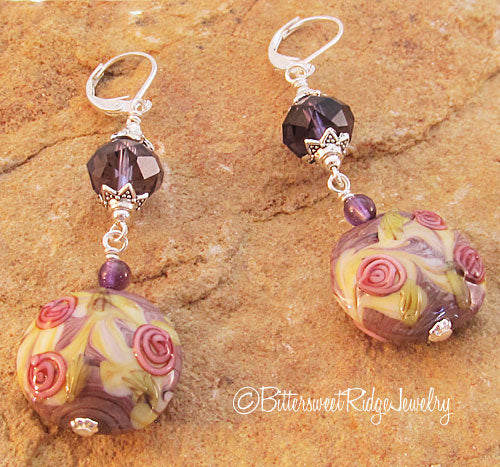 Floral Lampwork Earrings Amethyst Crystals on Silver