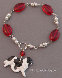 Landseer Newfoundland Dog Bracelet Pearls Red Glass Silver