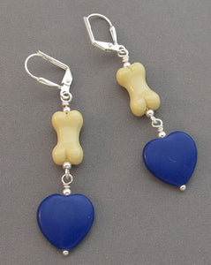 Dog Bone Earrings Royal Blue Hearts Silver Jewelry