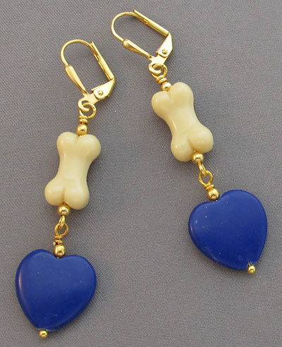 Dog Bone Earrings Blue Lapis Hearts on Gold