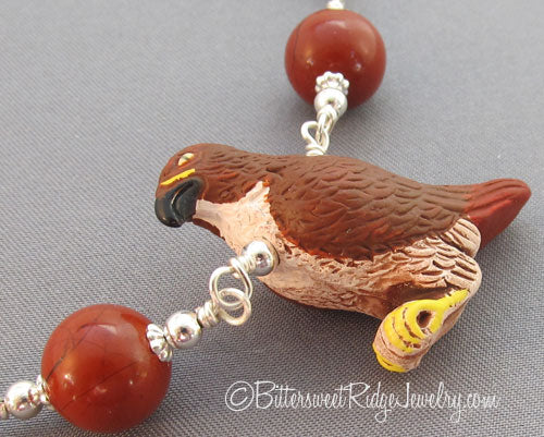 Red-tailed Hawk Necklace Poppy Jasper on Silver