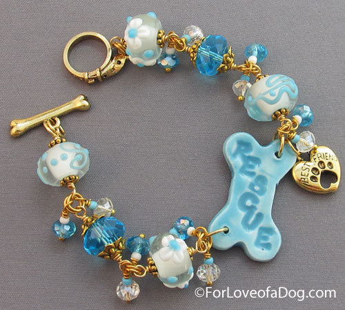 Rescue a Best Friend Dog Bone Bracelet Turquoise Gold