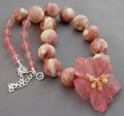 Exotic Pink Flower Necklace Chunky Gemstone Jewelry