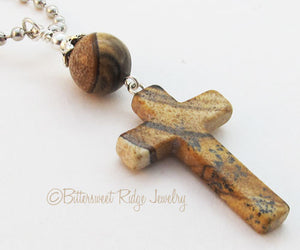 Picture Jasper Cross Necklace Hand Carved Gemstone Pendant