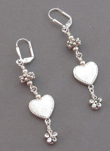 Silver Flower and Heart Dangle Earrings