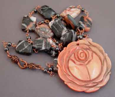 Lotus Flower Necklace Marble and Copper