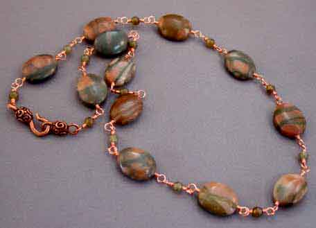 Copper Jewelry Marble Oval Boho Necklace